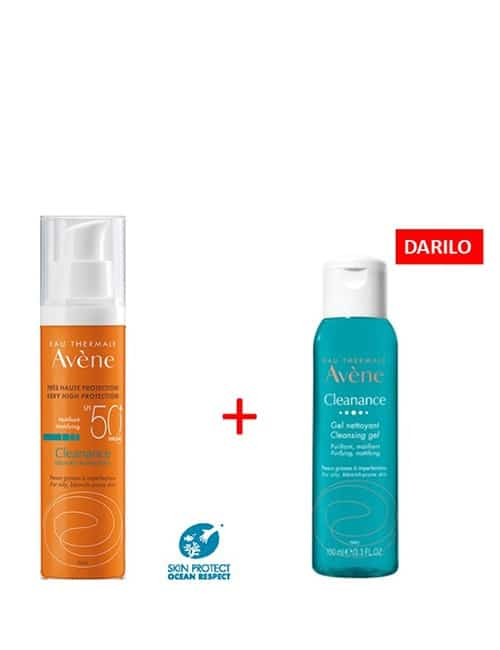 AVENE Cleanance zelo visoka zaščita pred soncem SPF50+ DARILO Cleanance gel 100ml