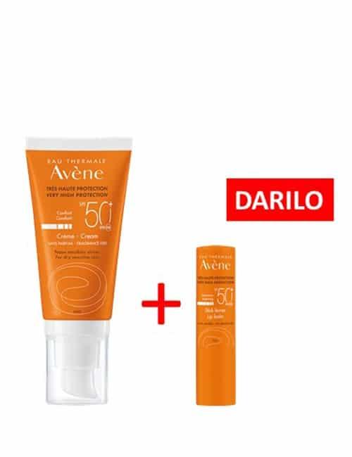 AVENE krema z zelo visoko zaščito pred soncem SPF50+ 50ml + DARILO Avene balzam za ustnice spf30 3g